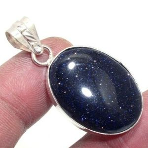 NWT Night Sky Ster. Silver Blue Sunstone Necklace